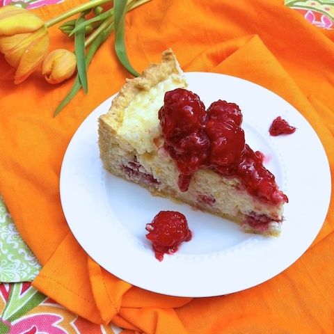 Slice of Easter Ricotta Rice Pie with Raspberry Glaze