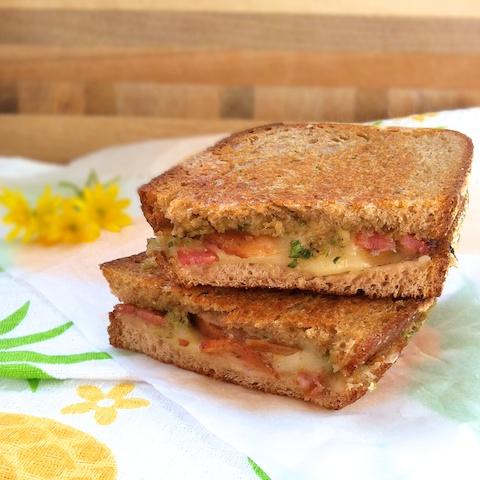 Grilled Cheddar, Bacon & Pear with Green Garlic Pesto