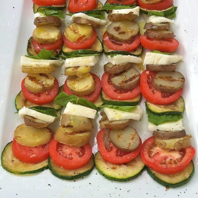 Grilled Potato Zucchini Caprese Salad   Teaspoonofspice.com