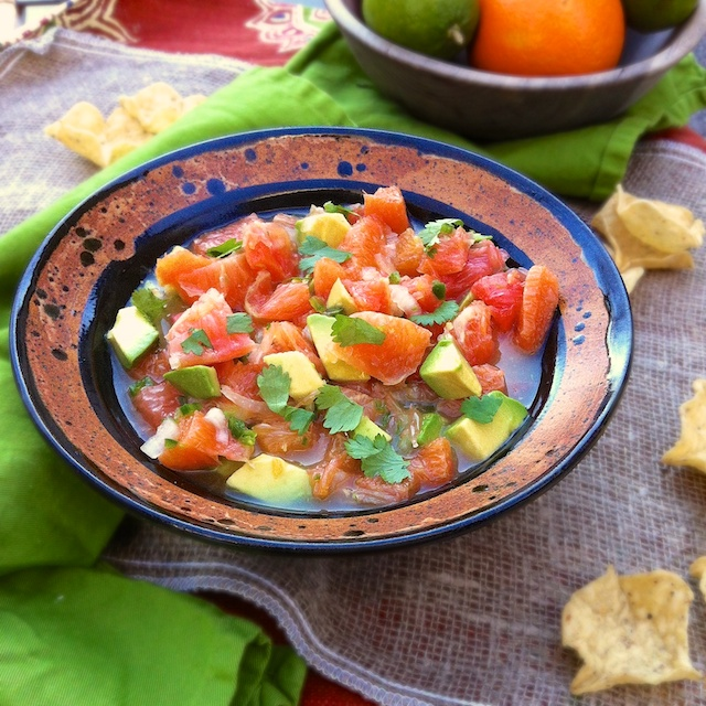 Orange, Grapefruit & Avocado Salsa | Teaspoonofspice.com