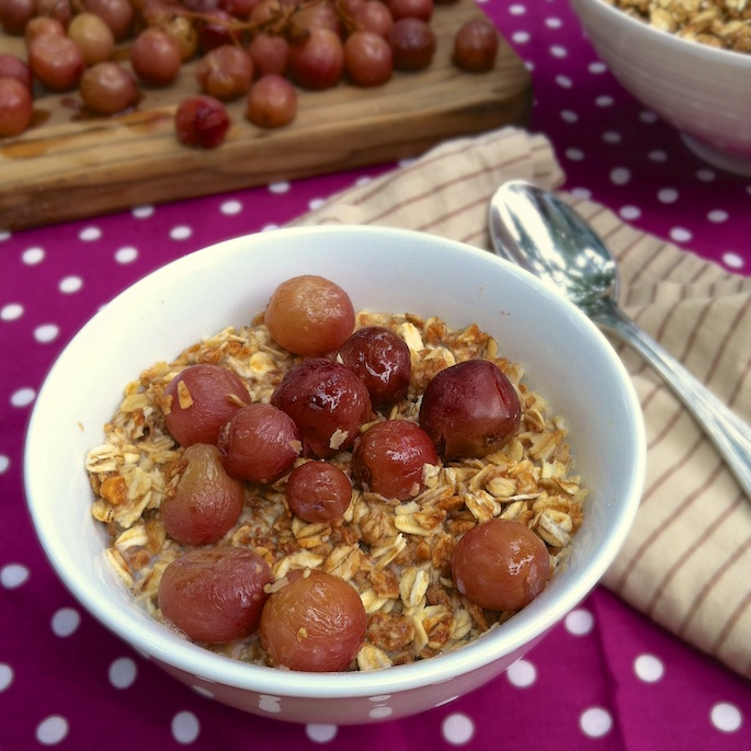 Honey Roasted Grapes with Peanut Butter Granola | Teaspoonofspice.com