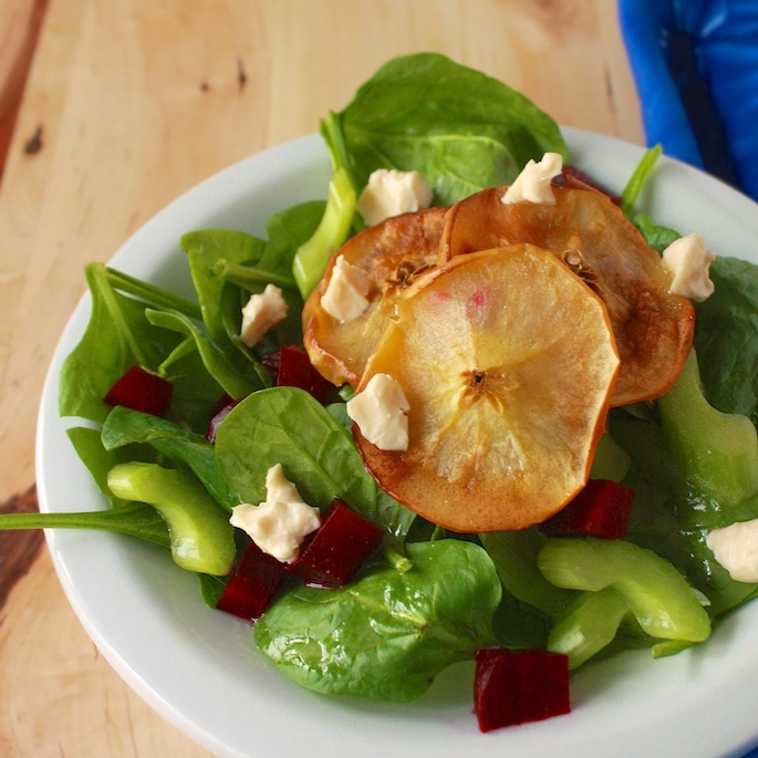 Spinach Salad with Roasted Apples   Teaspoonofspice.com