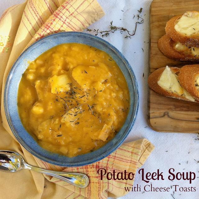 Potato Leek Soup with Smoked Cheese Toasts