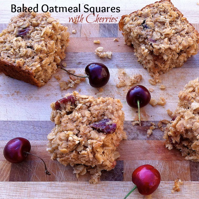 Baked Oatmeal Squares with Cherries