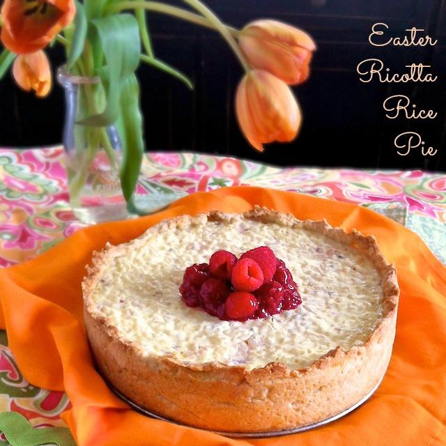 Easter Ricotta Rice Pie with Raspberry Glaze