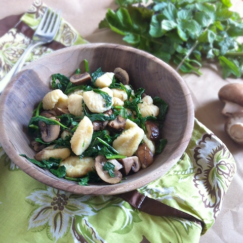 Gnocchi with Spring Greens and Crimini Mushrooms