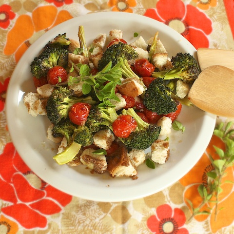 Roasted Broccoli Panzanella Salad