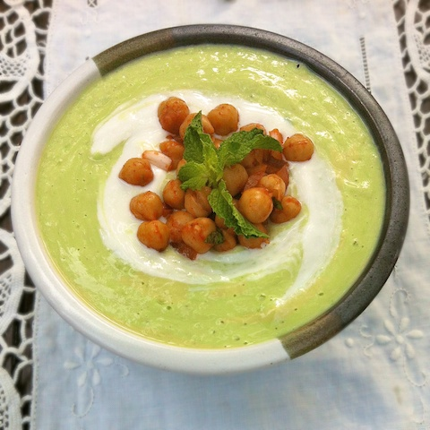 Cucumber Avocado Soup with Moroccan Chickpeas   @tspbasil