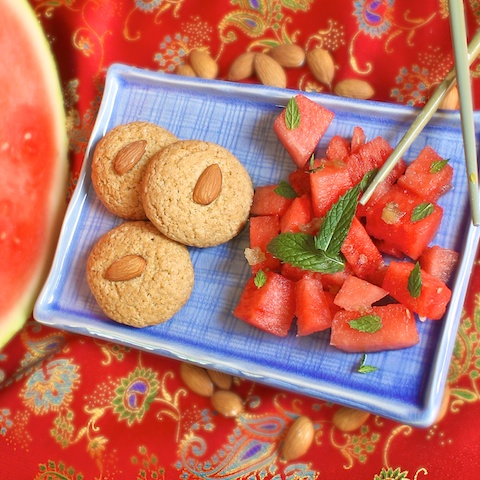 Watermelon Ginger Salad and Almond Cookies | The Recipe ReDux