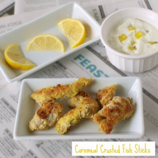 Crunchy Cornmeal Crusted Fish Sticks