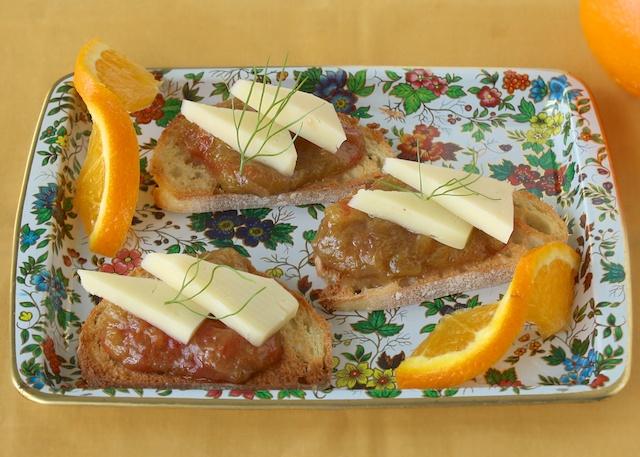 Crostini Toasts with Orange Rhubarb Sauce