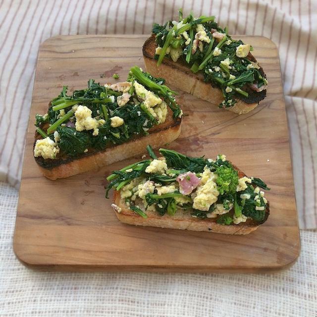 Broccoli Rabe, Bacon and Eggs Bruschetta