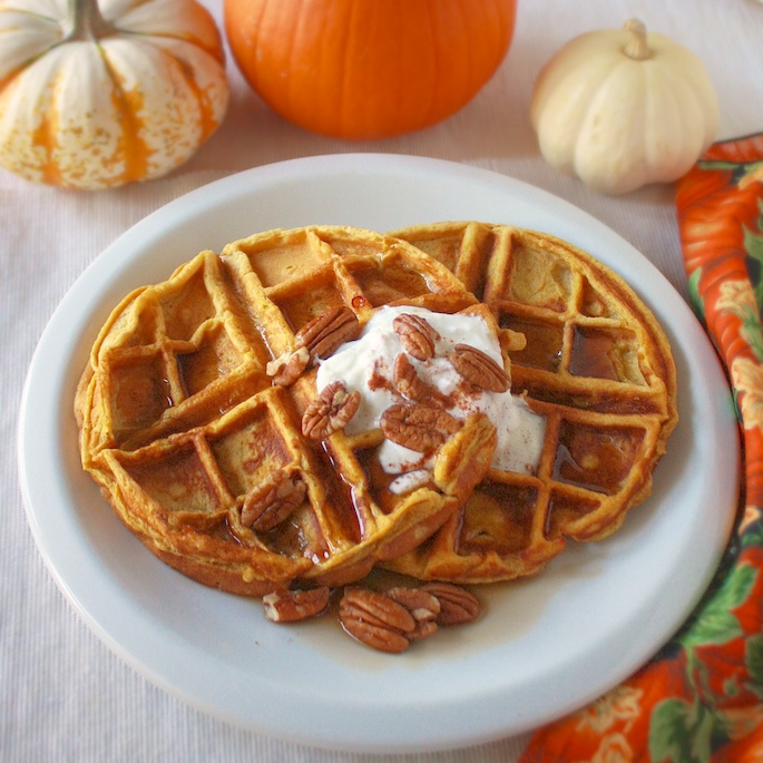 Maple Pumpkin Pecan Waffles