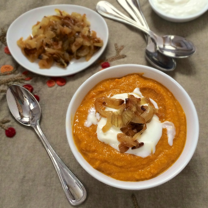 Red Lentil and Carrot Soup With Frazzled Onions