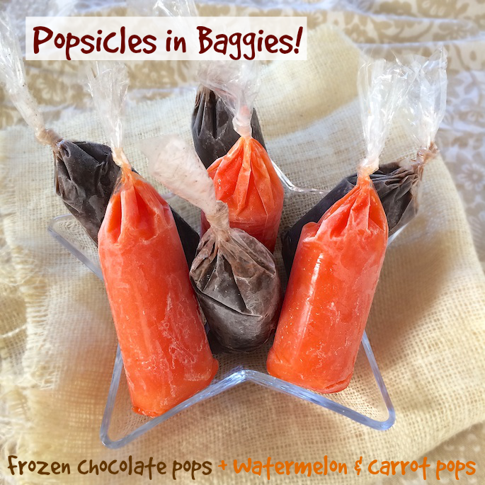 Frozen Chocolate and Fruit Veggie Pops in Baggies