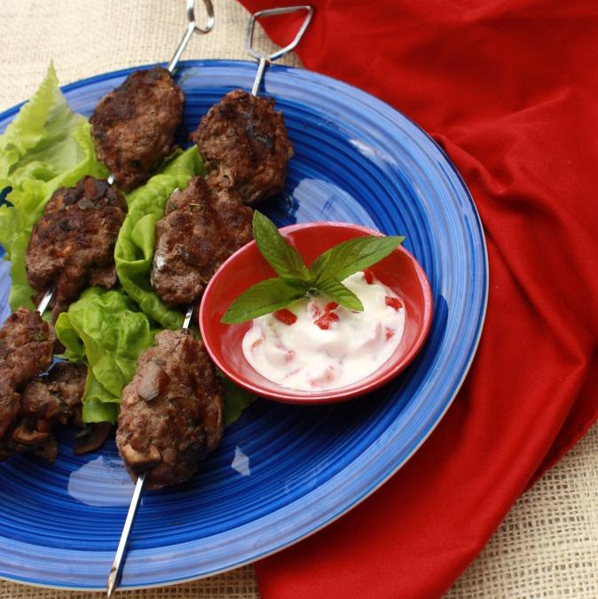 Grilled Mushroom and Beef Kofta