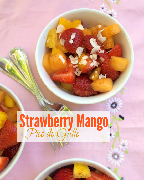 A fruit pico de gallo featuring strawberries, mango, melon, coconut and cayenne pepper - check out the recipe at Teaspoonofspice.com #strawberries #mango #picodegallo #fruitcup #smokedpaprika