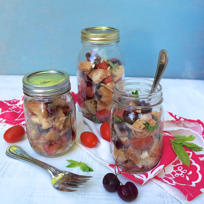 Portable Cherry Caprese Panzanella Salad