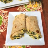 A tasty breakfast option: egg mushroom kale breakfast burrito