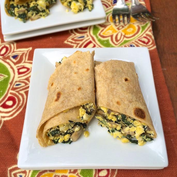 Egg, Mushroom and Kale Breakfast Burrito