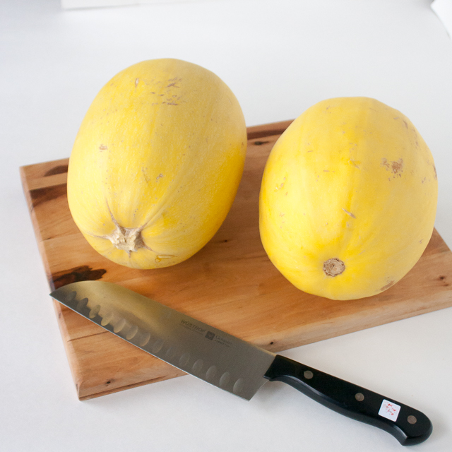 Don't get hurt! Squash are wobbly - and that's a sharp knife: HOW TO CUT SPAGHETTI SQUASH EASILY (AND SAFELY!) + 6 Spaghetti Squash Sauces | @tspcurry