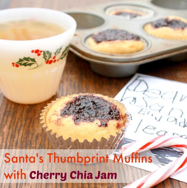 Santa Thumbprint Muffins with Cherry Chia Seed Jam