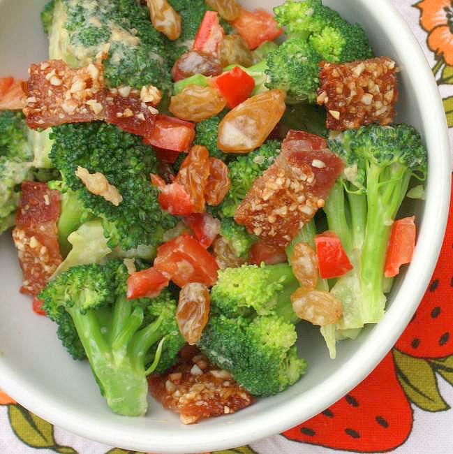 Praline Bacon Broccoli Salad with Raisins