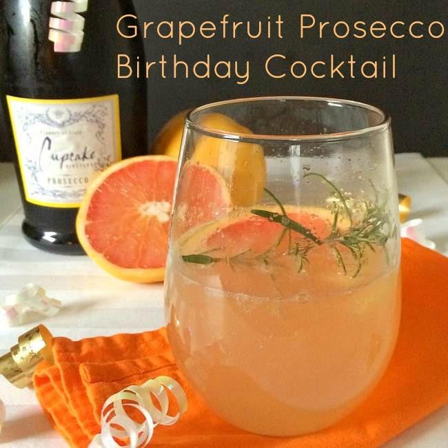 Grapefruit Prosecco Birthday Cocktail | TeaspoonOfSpice.com