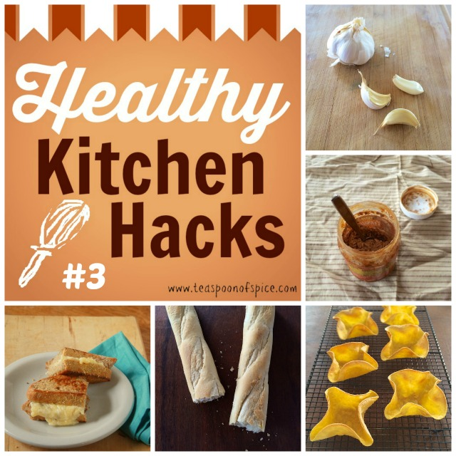 #HealthyKitchenHacks: Get Rid of Garlic Smell, Use Empty Peanut Butter Jar for Overnight Oats, Mini Taco Salad Shells, How To Make Healthier Grilled Cheese, How To Revive Stale Bread