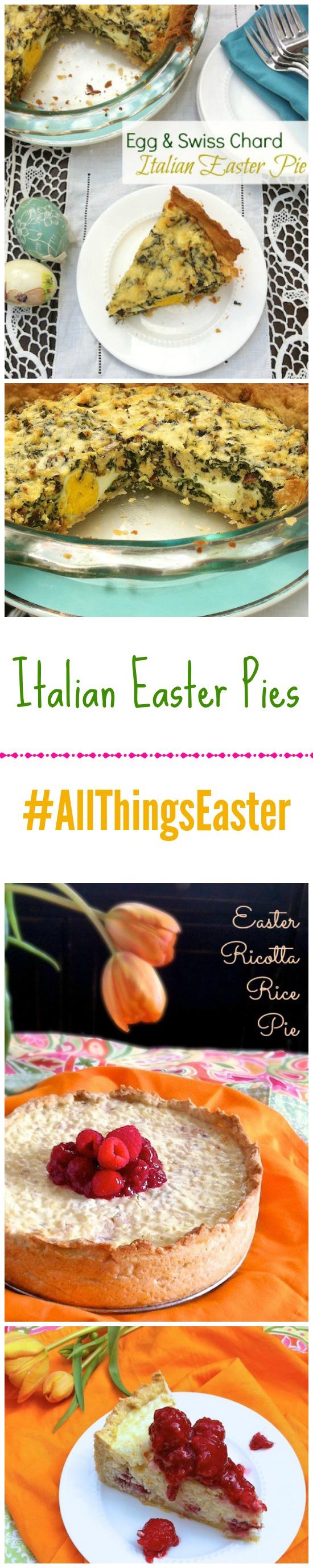 Italian Easter Pies: Egg & Swiss Chard Pie and Ricotta Rice Pie with Raspberry Glaze @tspbasil
