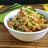 Stir fry roasted cabbage with carrots and day old brown rice for a healthy and tasty vegetable fried rice meal.   Teaspoonofspice.com @tspbasi