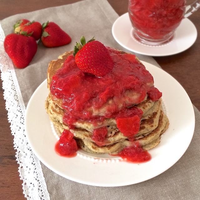 Pancakes you can feel good about - made with whole wheat flour and flaxseed and topped with naturally sweet fruit syrup via teaspoonofspice.com @tspbasil