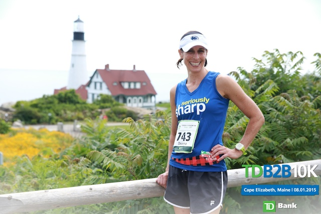2 2015 Cabot Fit team - Deanna at Beach to Beacon finish line (1)