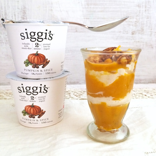 A unique Thanksgiving appetizer: Savory yogurt parfaits layered with cheesy pumpkin and siggi's Pumpkin & Spice skyr. @tspbasil