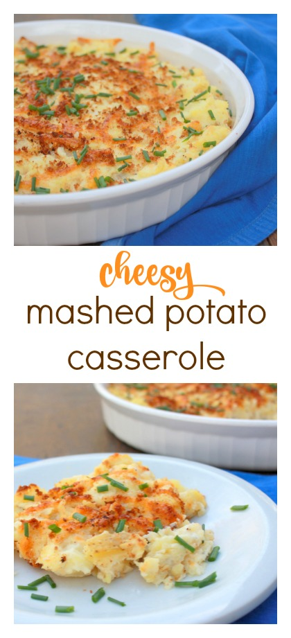 Healthy, but still buttery and covered in cheese! Cheesy Mashed Potato Casserole | @TspCurry