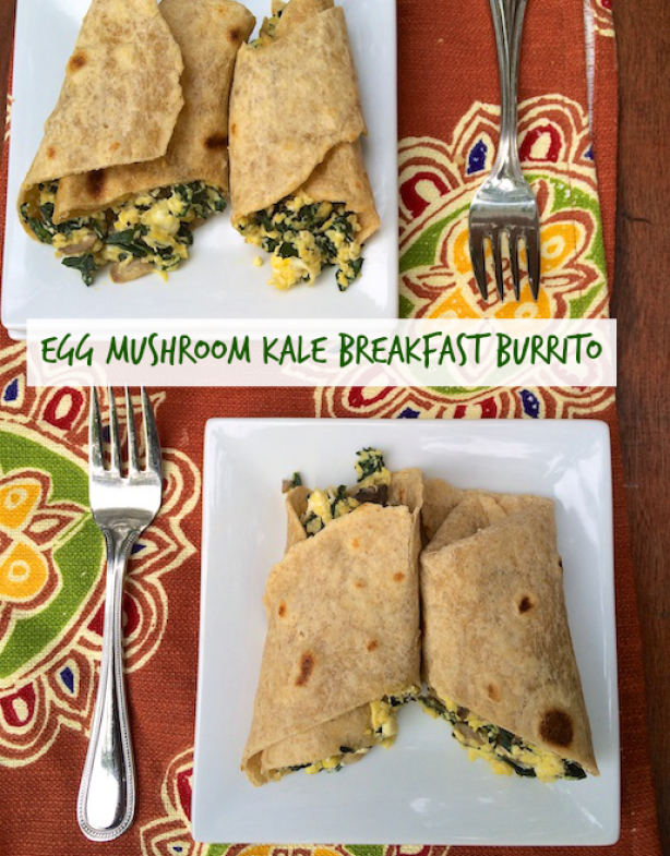 27 Delicious Ways To Enjoy Leafy Greens - like this Egg Mushroom Kale Breakfast Burrito @tspbasil