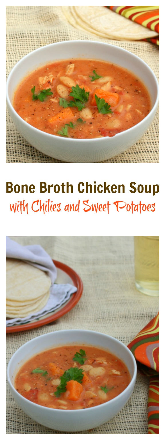 Bold new take on Chicken Soup: Bone Broth Chicken Soup with Chilies and Sweet Potatoes   @Tspcurry #AD