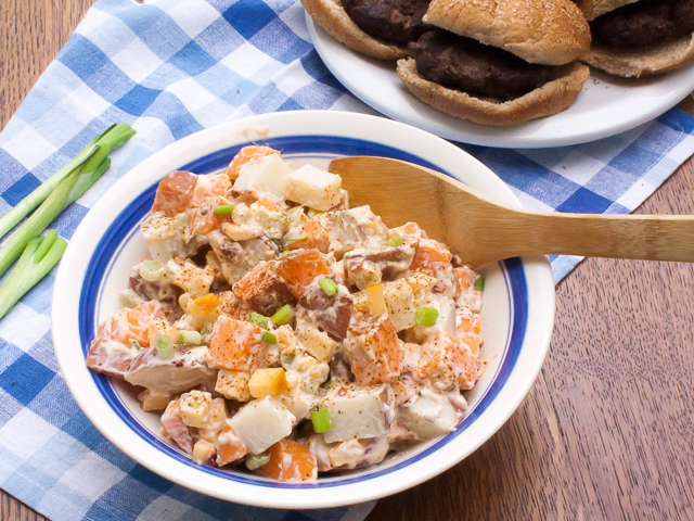 Spicy chipotle pepper, sweet potatoes, smoked Gouda cheese! Smoky Two-Potato Salad | @tspcurry