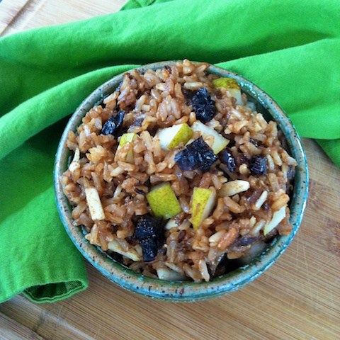 Trade up your whole grains in the morning for this Breakfast Rice Bowl with Dried Plums