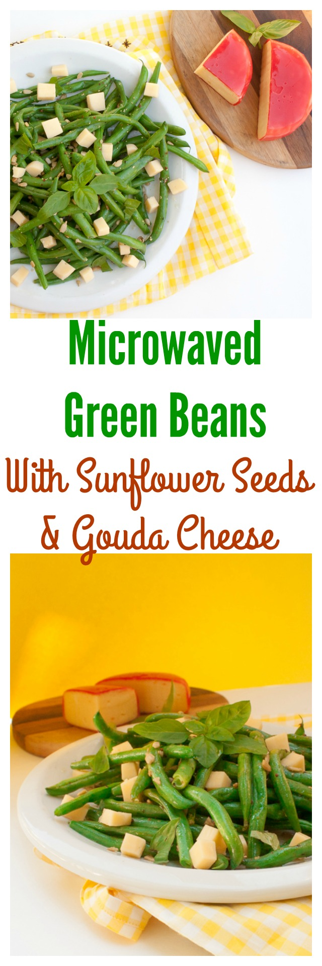 The best way to make tender-crisp green beans: Microwave them! MICROWAVED GREEN BEANS WITH SUNFLOWER SEEDS & GOUDA CHEESE | @TspCurry