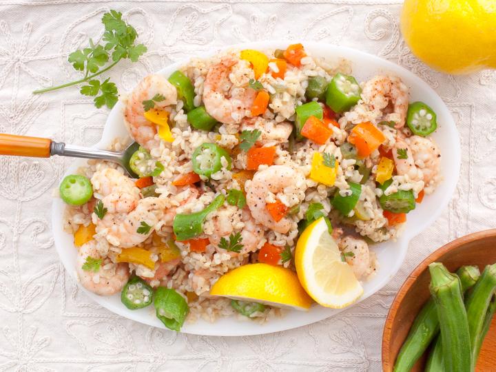 The best way to cook okra: Cajun Okra Rice Salad with Shrimp | @TspCurry