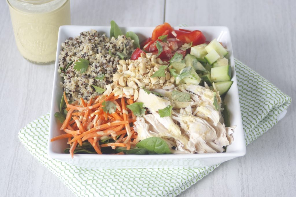 Chicken Quinoa Coconut Curry Bowl for a Peanut Butter Lovers' Recipe Round Up