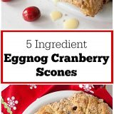 Easy to whip up for last minute guests - or just because they are soooo good: 5 INGREDIENT EGGNOG CRANBERRY SCONES | @TspCurry - For more holiday recipes: TeaspoonOfSpice.com