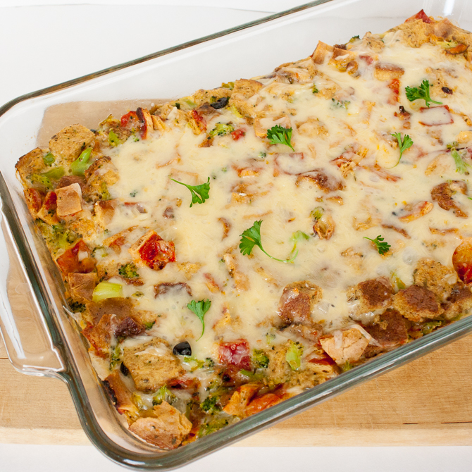 Cheesy Pizza Bread Pudding