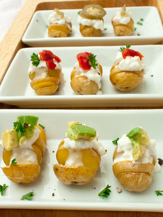 Warm, crispy-skinned, salty snacks topped with cottage cheese. These Protein Packed Mini Potato Fans take only 4 minutes to slice into healthy hasselback's!| @TspCurry For more healthy recipes: TeaspoonOfSpice.com