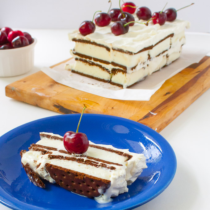 Ice Cream Sandwich Cake with Frozen Yogurt Frosting
