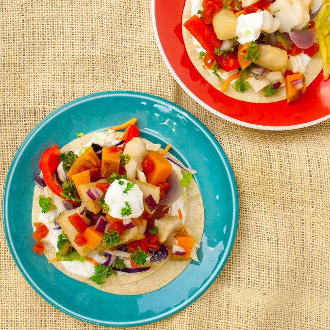 Slow Cooker Fish Tacos with Sweet Potatoes
