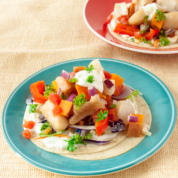 Slow Cooker Fish Tacos with Sweet Potatoes | @TspCurry