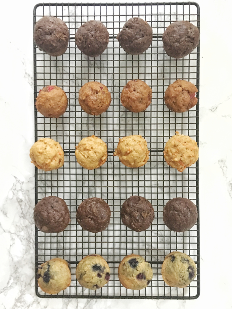 [sponsored] Use this recipe formula to make better-for-you mini muffins with all different types of fruit, veggies and nut butters! Recipe at Teaspoonofspice.com