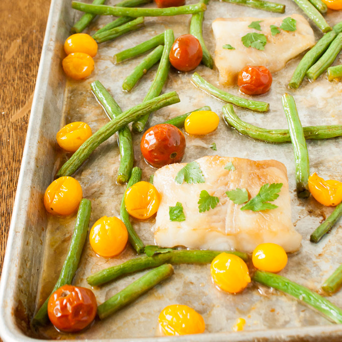 Butter and Soy Sauce Sheet Pan Fish Dinner